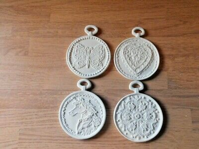 C-0014 Set of 4 flat two sided Village Christmas Ornaments Ceramic Bisque
