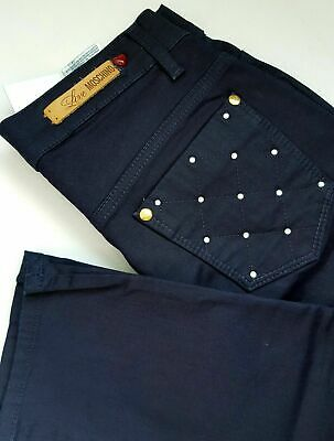 Women's Love Moschino stretch trousers dark blue color size UK 26 /34 BNWT