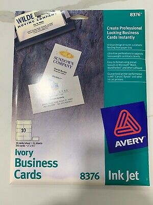 Avery Inkjet Business Card 8376 Template For 2021 Printable And Downloadable Cust