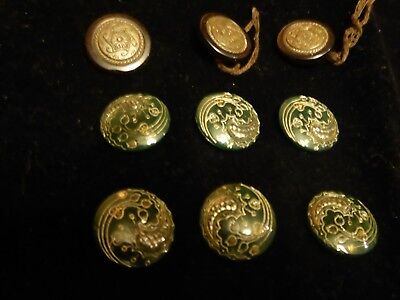 6 Most Beautiful Stunning Art Nouveau Green Glass And Gold Buttons + 3 Others