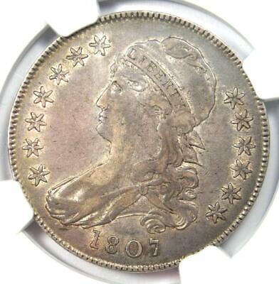 """1807 """"Small Stars"""" Capped Bust Half Dollar 50C Coin O-113a - NGC XF40 (EF40)"""