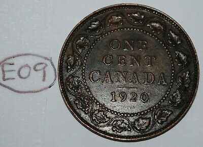 Canada 1920 1 Large cent Canadian one George V Penny coin Lot #E09