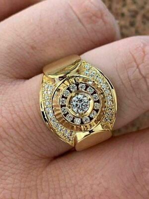 Men's 14k Yellow Gold Over Solid 925 Silver Ring ICY Round Cluster Hip Hop Pinky