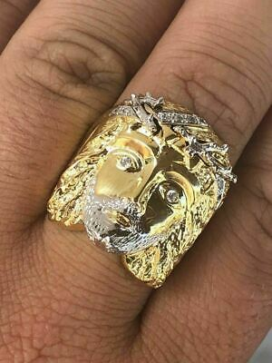 Mens Real 14k Yellow Gold Over Solid 925 Silver Jesus Face Ring Christian Cross