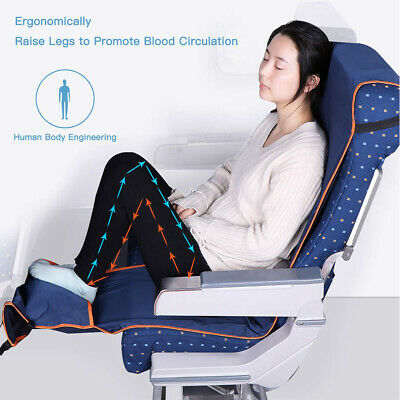 Adjustable Travel Airplane Footrest Hammock Foot w/ Inflatable Pillow Seat Cover