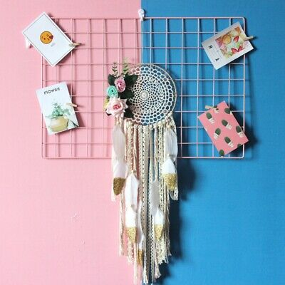 White Lace Flowers Dream Catcher Feather Bead Wall Car Home Hanging Decoration