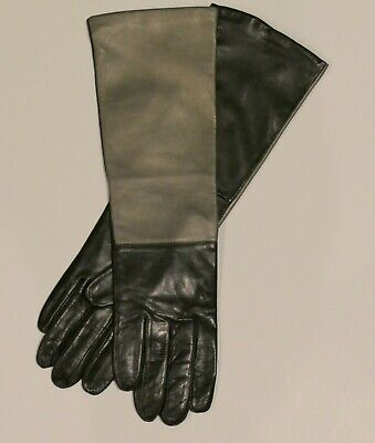 Fownes Sexy Black/Gold Leather Elbow Gloves Size 8 NWOT