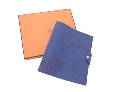 Auth HERMES Wool Felt Notebook Cover Blue Wool - e42459