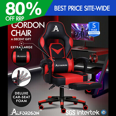 ALFORDSON Gaming Chair Office Seat Thick Padding Footrest Executive Racing Red