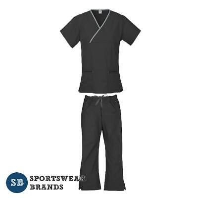 Ladies Contrast Scrub Set - Nurse Doctor Vet Medical Uniform Pant Shirt Black