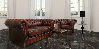 Chesterfield Uk Handmade 3 +Club Chiar +Footstool Antique Oxblood Real Leather