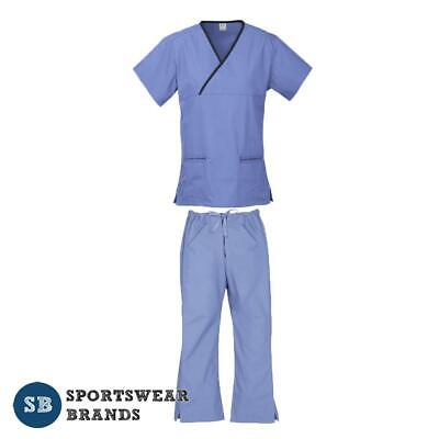 Ladies Contrast Scrub Set - Nurse Doctor Vet Medical Uniform Pant Shirt Mid Blue