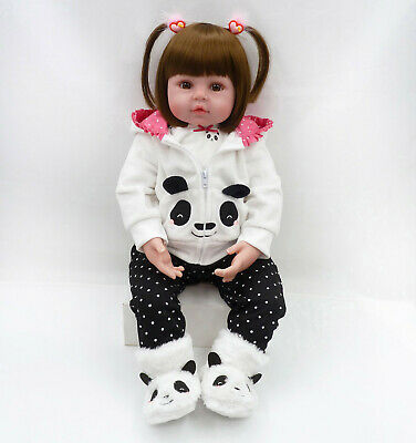 Fast Real Life Toddler Reborn Dolls Lifelike Baby Soft Silicone Girl Xmas Gift
