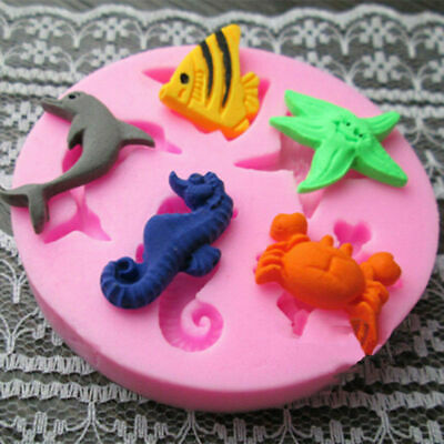 Silicone Sea Life Mould Cake Decorating Fondant Sugarcraft Baking,Mould^ Sh U1O6