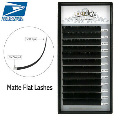 Lashview .15mm C/D Matte Ellipse Flat Eyelash Extensions Split Tips Eye Lashes