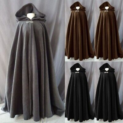Halloween Ancient Cloak Classic Costume Medieval Hooded Cape Cosplay Mens Women