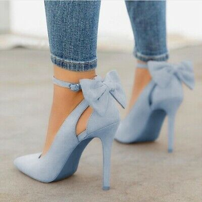 Ankle Strap Bow-knot Stiletto Sandals Ladies Fashion High Heel Point Shoes Party
