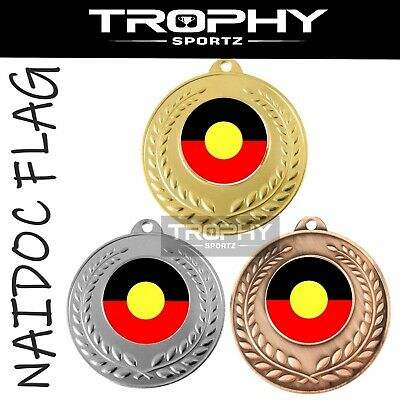 1 x ABORIGINAL FLAG 50mm AUSTRALIAN NAIDOC medal FREE Engraving, Ribbon & POST