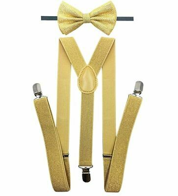 Suspender with Matching Sparkle Bow Tie Set Elastic, Adjustable, Y-Back Gold