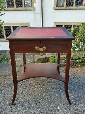 A Small Dainty Antique Edwardian Writing Desk Sloped Lift Up Top, Drawer & Shelf