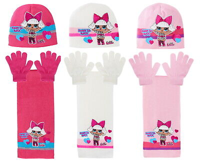 Girls LOL Surprise Dolls Woolly Hat + Scarf + Gloves Winter Set Kids Xmas Gift