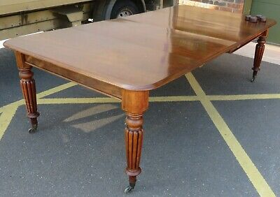 Antique Victorian Mahogany Extending Dining Table, 2 Leaves, Reeded Legs l:238cm