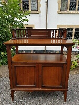 Antique Edwardian Mahogany Buffet Sideboard with Cupboard and Galleried Top