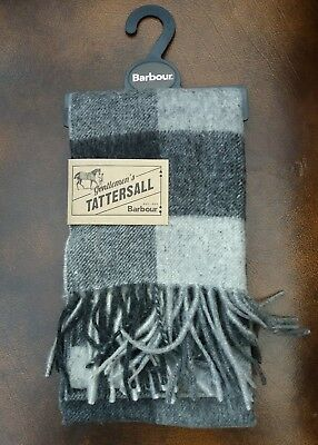BNWT Mens Barbour Large Tattersall Lambswool Scarf Charcoal Grey 180x25cm