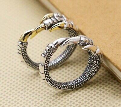925 Sterling Silver men women dragon claw  ring rings jewelry
