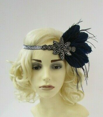 Black Navy Blue Silver Gunmetal Dark Grey Feather 1920s Headband Flapper 7577