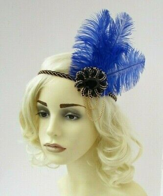 Royal Blue Black Gold Chain Ostrich Feather 1920s Headband Flapper Wedding 7578