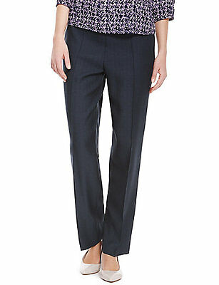 Navy blue pull on classic trousers from Marks & Spencer size 8 short new