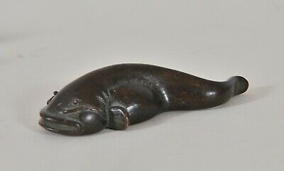 Antique Chinese bronze figure of a Catfish