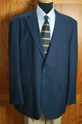 Stafford Sharp Navy Two Bttn Blue Poly Blend Blazer Sport Coat Suit Jacket 44L