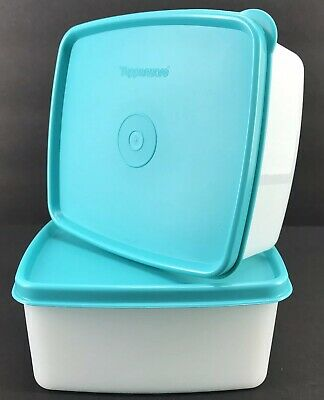 Tupperware Square Round 16 oz. Freezer Containers Set of 2 Aqua Seals New