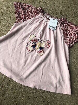 Next Girls Gypsy Ditsy Floral Floaty Top Butterfly Applique 2-3 Years