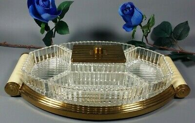 Antique French ART DECO Appetizer Mirrored Serving Tray Bauhaus Streamline 1930s