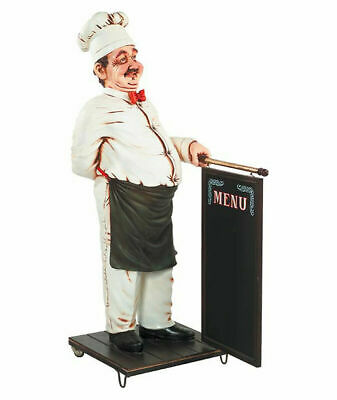 "68"" Large Chef with Hanging Menu Sign on Wheels Restaurant Kitchen Collectible"