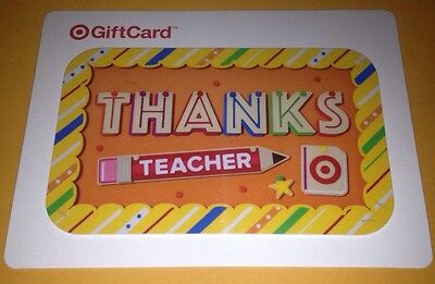 "Target Gift Card ""Thanks Teacher"" No Value Collectible U.s. 2015 New"