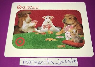Target Flocked Gift Card Bullseye Dog Poker Playing Dogs 2011 No Value New