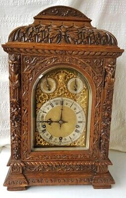 Antique Carved Oak 3 Train 8 Gong Musical Westminster Chime W&H Bracket Clock