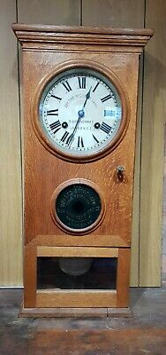 The Howard Autograph Oak Cased Time Recorder Clock Working Order