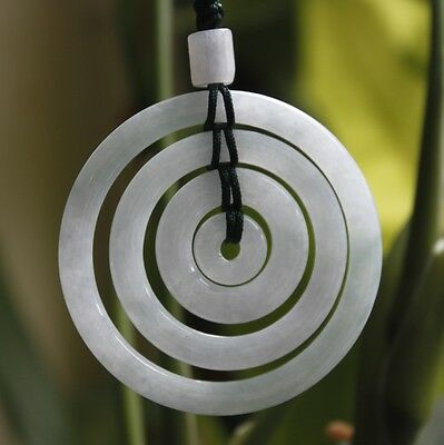 Certified Grade A Natural Icy Light Lavender Jadeite JADE Circle Donuts Pendant