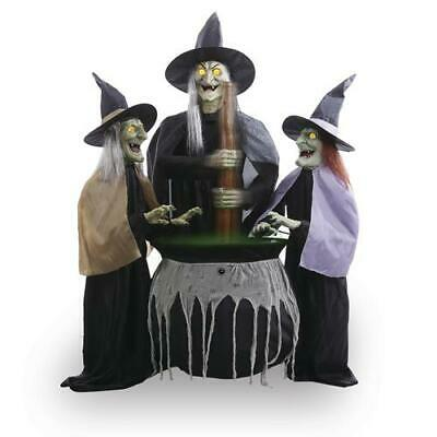 Halloween Props Decor Animated 3 Witches Set Talking Lighted Eyes Sound Lights