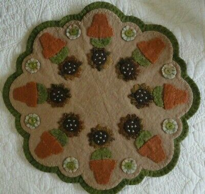 pRiMiTiVe Wool Halloween Penny Rug~Fall Candle Mat~Potted Sunflowers~Autumn