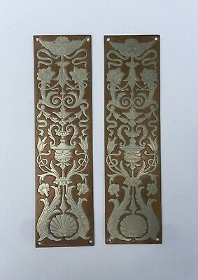 Pair Of Antique Solid Two-Tone Brass Door Push Plates w/ Florals & Winged Cherub