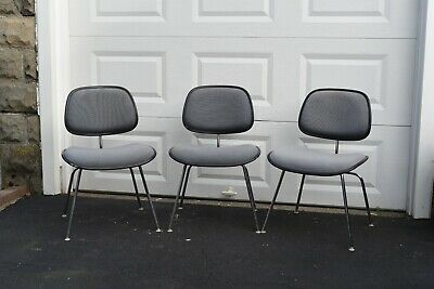 Three Authentic Herman Miller Eames DCM Upholstered Padded Chairs Vintage 1970s