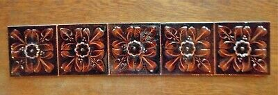 "Five Antique 6"" Brown Floral Flower & Berries Majolica Ceramic Tiles Late 1800s"