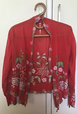 Vintage Bohemian Gypsy Embroidered Jacket Kimono Top - Size 8 10 12 - Never Worn