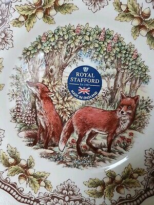 """NEW Royal Stafford Victorian Woodland Red Fox Set of 4 Dinner Plates 11"""" Rare"""
